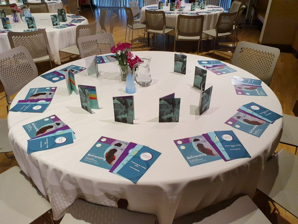 Table with leaflet for perinatal services